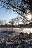 The lake is covered with ice. Royalty Free Stock Photography