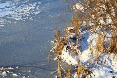 The lake is covered with ice. Royalty Free Stock Photos