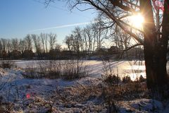The lake is covered with ice. Royalty Free Stock Image