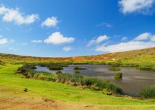 Rano Raraku Volcano on Easter Island, Chile Stock Photo