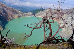 lake in a crater of volcano Ijen. Indonesia stock photography