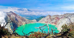Lake in a crater of volcano Ijen Stock Photo
