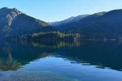 Lake Crescent reflection. A reflection at Lake Crescent on a very clear day, with very still water Royalty Free Stock Photo
