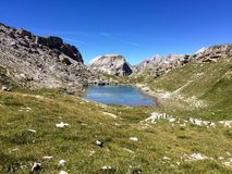 Lake Crespeina. In the Dolomites, on Alta Via 2 Stock Photos