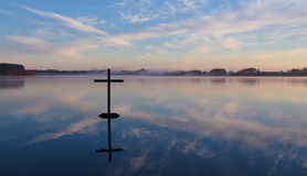 Lake Cross Reflection Stock Image
