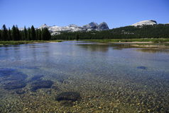 Lake of crystal blue water over granite mountains Royalty Free Stock Photo
