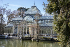Lake, Crystal Palace in the Retiro park Madrid, Spain Royalty Free Stock Image