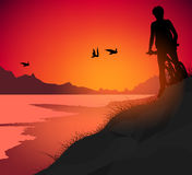 Lake cycling nature scene. Lake cycling twilight scene vector silhouette young woman sport background Stock Images