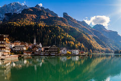 Lake d`Alleghe, Tyrol, Italy Royalty Free Stock Image