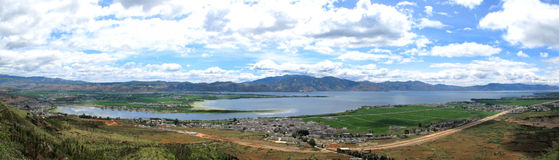 Lake - Dali Erhai Lake. Er Lake, Chinese Erhai, is an alpine fault lake in Yunnan province, China.  Erhai is situated at 1,972 m above sea level. Its area is 250 Royalty Free Stock Photos