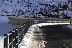 Lake Dam Fedaia in the Dolomites, Val di Fassa Royalty Free Stock Photography