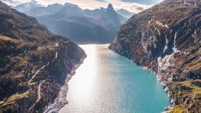Lake Dam Turquoise Mountains Autumn Zervreilasee Switzerland Aerial 4k