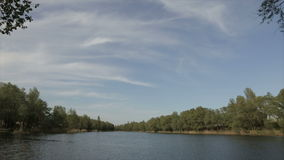 Lake in the daytime, wide angle stock video