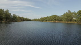 Lake in the daytime, wide angle stock footage