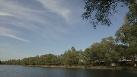 Lake in the daytime, wide angle stock video footage