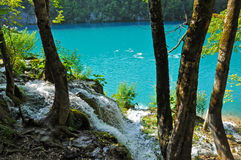 Lake in deep forest, Plitvice, Croatia Royalty Free Stock Images