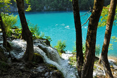 Lake in deep forest, Plitvice, Croatia Royalty Free Stock Photography