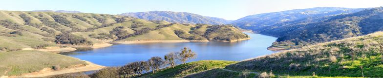 Lake Del Valle Panorama. View from above Lake Del Valle in Del Valle Regional Park, Alameda County, California, USA Stock Image