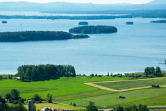 Lake Dellen. Swedish countryside with  agricultural landscape and lakes Royalty Free Stock Photo