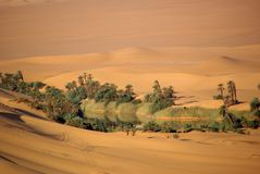 Lake in the desert of Libya Royalty Free Stock Image