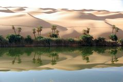 Lake in the desert of Libya Royalty Free Stock Images