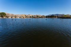 Lake with desert mountain view background Royalty Free Stock Photos