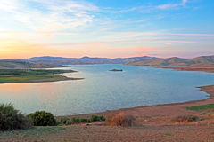 Lake in the desert at sunset in Morocco Royalty Free Stock Images