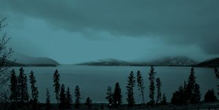 Lake Dillon. Snow rolling in stock photo