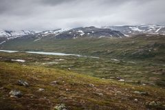 Lake in the distance. The lake Russvatnet in the distance stock photo