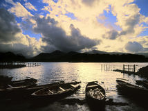 Lake district. National park cumbria england uk - cloudburst and sunburst, sunset over causey pike and derwentwater Stock Photo