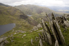 The Lake District. Sharp rocks on a mountainside in the Lake District, England Stock Image