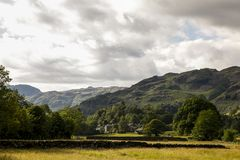 Lake district countryside fells. Elterwater english countryside Cumbria national park scafell pike Royalty Free Stock Photography