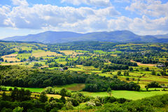 Lake District countryside and mountains view near Hawkshead village England uk Stock Image