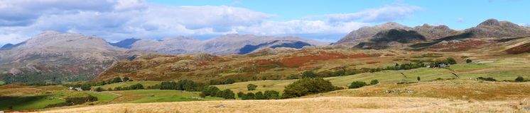 Lake district England in panorama. Beautiful landscape near Eskdale Green in Lake district England in panorama Stock Photography
