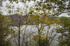 Lake District, England, the UK - bleak autumnal day, a view through the trees. This image shows a view of a lake in Cumbria, Lake District. It was taken on a royalty free stock image