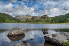 Bleak Tarn with Langdale pikes stock photo