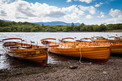 Lake District landscape. Rowing boats at Derwentwater in the evening light Stock Image