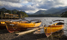 Lake District landscape. Rowing boats at Derwentwater in the evening light Stock Photography