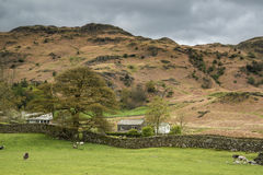 Lake District landscape with stormy sky over countryside anf fie Stock Images