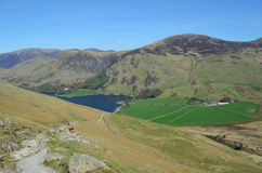 Lake District National Park. Scenic view from the trail up to Haystacks with Lake Buttermere in the background, Lake District National Park, Cumbria, England Royalty Free Stock Image