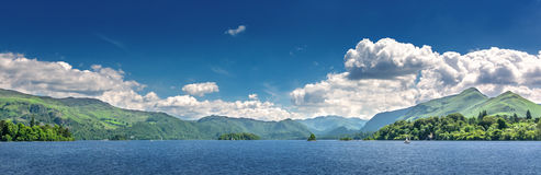 Lake District in Northern England. View over the lake at Keswick in north gland with mountains in the background stock image