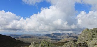 Lake District National Park Landscape Panorama Cumbria England. View towards the Scafell Range from Coniston Old Man in the English Lake District Stock Photo
