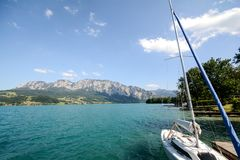 Lake district Salzburger Land Austria: View over lake Attersee - Austrian Alps Royalty Free Stock Images