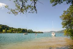 Lake district Salzburger Land Austria: View over lake Attersee - Austrian Alps Stock Photography