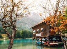Lake Dobbiaco in the Dolomites, Beautiful Nature Italy natural landscape Alps. Royalty Free Stock Photo