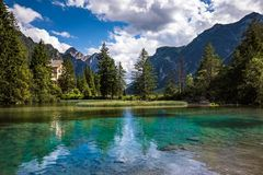 Lake Dobbiaco in the Dolomites, Italy Royalty Free Stock Image