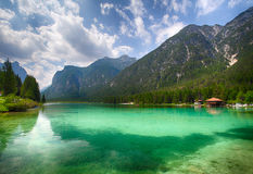 Lake dobbiaco, Dolomites mountain stock images