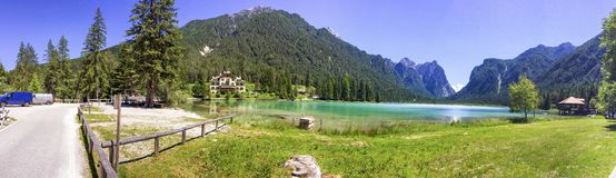 Lake of Dobbiaco, panoramic view in summer Royalty Free Stock Photo
