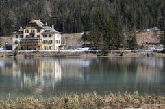 Lake of Dobbiaco. View of the Lake of Dobbiaco in Trentino Alto Adige Royalty Free Stock Images