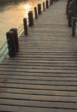 Lake dock. Old clean wooden floor outdoor by the lake dock Stock Photo